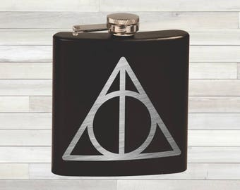 Harry Potter and the Deathly Hallows Flask. Harry Potter Gift. Harry Potter Inspired. Deathly Hallows. Harry Potter Gift Flask
