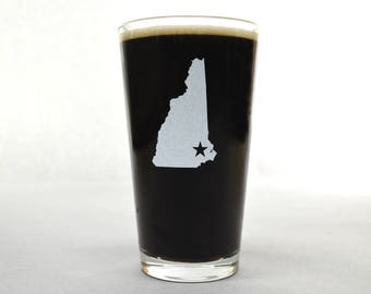 New Hampshire Beer Glass - State Pint Glass - Pint Glass - Personalized Pint Glass - Etched Pint Glass - Groomsmen Pint Glass