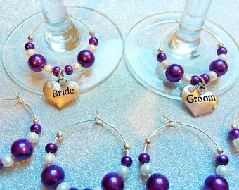 Wedding Bridal Party Top Table Favour Wine Glass Charms Personalised Gift (each)