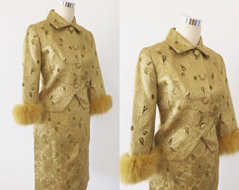 """1950s Skirt and Jacket set with Fur Trim Size Small 