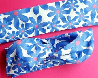 Somethin' Blue Floral Wire Headband - Retro Inspired Hair Scarf