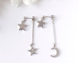 Andromeda silver earrings, dangle wire with silver star, crescent moon, Rhinestone... ear jacket. UK seller