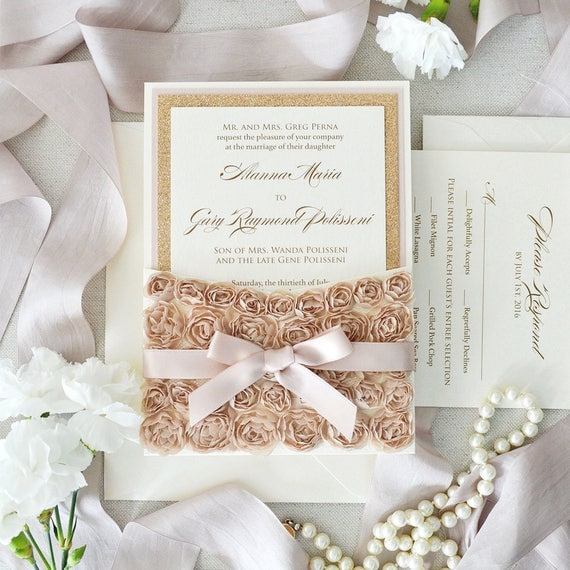 ALANNA- Rosette Lace Wedding Invitation - Lace Pocket Invitation with Rose Gold Glitter, Champagne Rosettes, and Pink Blush Accents