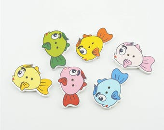 100pcs 27x20mm Mixed Color Wood Buttons Wooden Cute Fish Button Accessories NK