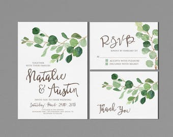 Greenery Wedding Invitation Printable, Rustic Wedding Suite, Modern Outdoor Wedding Invites, Eucalyptus Watercolor Neutral, matching RSVP