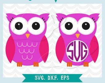 Owl svg, Owl dxf, Owl kawaii svg, Monogram Owl svg, cutting files, eps, cuttable files