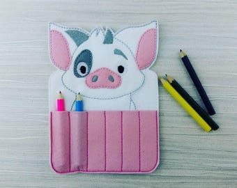 Pig Crayon Holder - Toddler Gift - Crayon Gift - Arts and Crafts - Back To School - Travel Case - Party Favor - Stocking Stuffer - Moana Pua