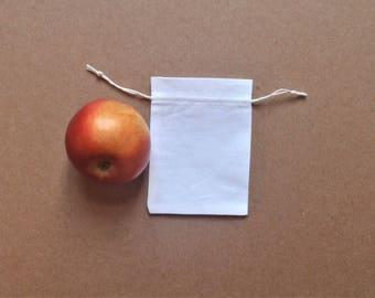 """Cotton bags * White Cotton Pouch * Cotton Canvas Pouch * 10 pcs * 2""""x3"""" (5cm x 8cm)"""