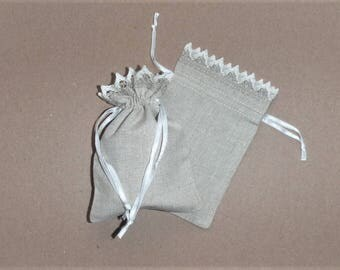 "10 Small Linen Bags * Storage Bags * Linen Bags with Lace * Eco Friendly *  Linen Drawstring * Canvas Bags * 3"" x 4"" (8cm x 10cm )"