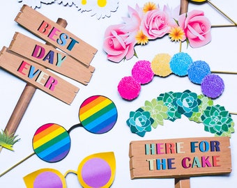 FESTIVAL Themed Photo Booth Props Pack Printable Party Bachelorette Boho Bohemian Glastonbury Download