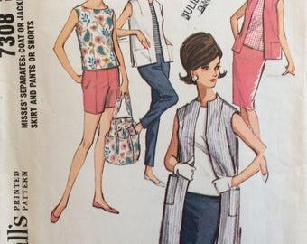 McCall's 7308 misses sleeveless coat or vest, top, skirt, pants or shorts size 10 bust 31 waist 24 vintage 1960's sewing pattern