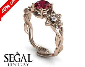 Unique Engagement Ring 14K Red Gold Floral Flowers And Leafs And Branches Vintage Ruby With White diamond - Julia Flowers Engagement Ring