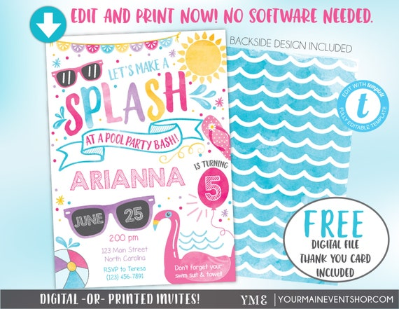 Pool Party Invitation Pool Party Birthday Invite Summer Pool Party