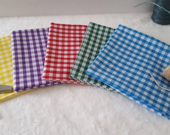 Fat Quarters - 5 Piece - Gingham Fabric - Gingham Fat Quarter Bundles - Craft Supplies