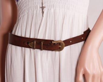Lady's brown belt, Brown leather belt with brass buckle, Small vintage belt, Women belt, Cowgirl belt, Genuine leather belt, Brass buckle
