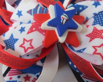 4th of July Hairbow, Stars and Stripes Hairbow, Patriotic Hairbow,Red, White, Blue Stars,
