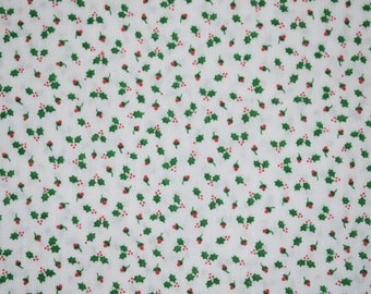 Holly Christmas Fabric, Christmas Holly Fabric, Christmas Quilting Fabric, Vintage Quilting Fabric, Vintage Fabric, Holly Fabric, Holly Leaf