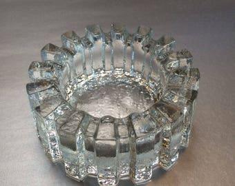 Danish Modern Crystal Trinket Bowl or Ashtray Vintage Mid Century