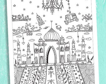 taj mahal coloring poster, coloring pages, adult  coloring page, coloring for all ages