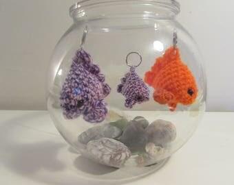 Crochet Fish - Custom Colour Amigurumi Sea Creature - Gold Fish Keychain