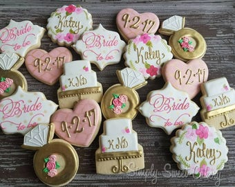 Floral Bridal Shower Cookies/wedding/bride/engagement/Save the Date  (40 cookies)