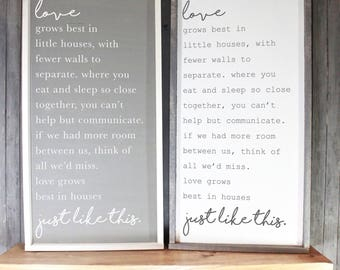 Love Grows Best in Little Houses Framed Wooden Sign, Housewarming Gift, Unique Rustic Sign