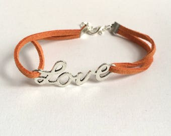 Love bracelet orange suede
