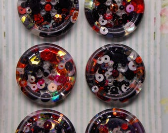Resin Buttons, Sewing Buttons, Set of 6 Handmade Resin Buttons, Sewing, Black and Red Sequin Resin Buttons, Handmade Buttons, Craft Buttons,