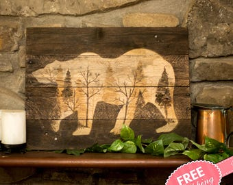 Log cabin art Rustic wall art Wood wall art New for home Rustic home Decor Woodland wall art Woodland wall decor Bear painting Gifts for him