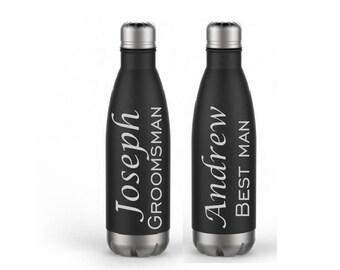Set of 2- Groomsman Water Bottles, Best Man Gift- Engraved Water Bottle- Insulated Best Man Water Bottle- Groomsman Gifts- Personalized