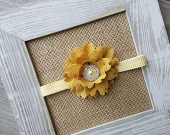 RTS, girls headband, mustard flower bow, interchangeable bow, 4 different combos, mustard bow, feather flower bow