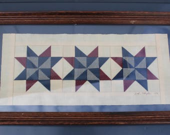 Quilt Red White and Blue Framed Quilt Pieces