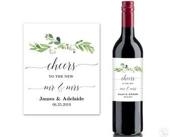 Printable Wedding Wine Bottle Label Templates, Greenery Wine Bottle Labels, Personalized Wine Label, Garden Greenery