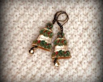 Bell Earrings - Christmas Bells - Bell Jewelry - Holiday Jewelry - Christmas Party - Christmas Fashion - Vintage Kitsch - Shrink Plastic Art