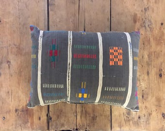 Vintage Colorful African Textile Pillow
