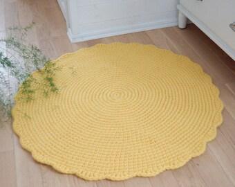 Yellow Rug, Round Crochet Wool Rug, Nursery Sun Rug, Knit Rug Sun, Handmade Wool Felt Rug