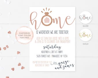 Engagement Housewarming Invitation, Engagement Party, Housewarming Party, Rose Gold, Engagement Invitations, Housewarming Invitations [664]
