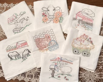 Embroidered Towels - Farm Animals