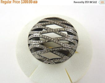Valentine Day Sale 1 PC Pave Diamond  Ring - 925 sterling Silver Diamond  Round Ring Size-7.5 RD045
