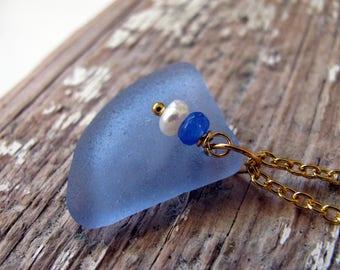 Cornflower Blue Sea Glass Necklace,Blue Sea Glass Necklace,Sea Glass Jewelry,Sea Glass Necklace,Sea Glass Pendant,Seaglass Necklace,Blue