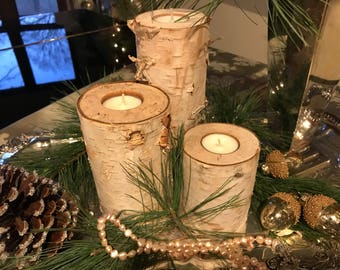 Birch Candle Holder-Real Birch-Large Birch Candle Holders-NBJ777-Wedding Table-Wooden Candle