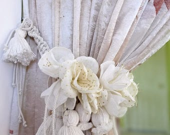 "Pair Of Natural ( off-white) color curtains tie backs.""Vanilla cream"""