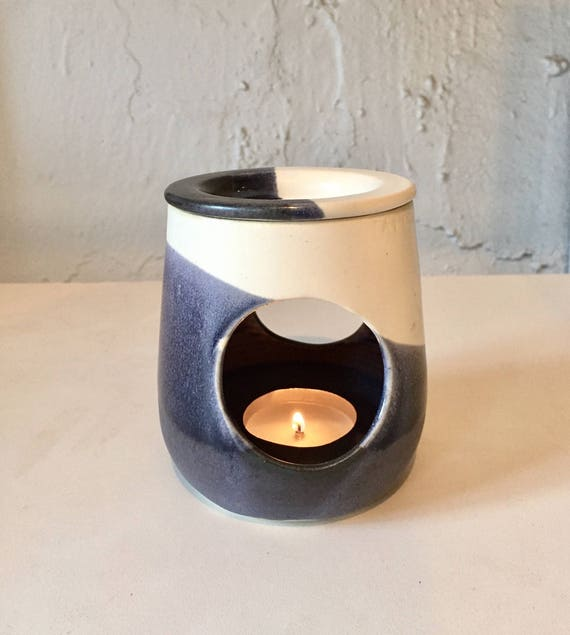 ceramic oil burner/wax melter - White and purple/gray- handmade- NEW!