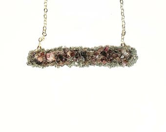 Crushed garnet and Pyrite bar necklace