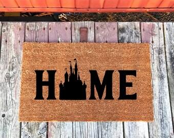 2 Sizes - Disney Castle Home Coir Door Mat - Doormat - 18 x 30 and 24 x 31.5 - Welcome Mat - Housewarming Gift