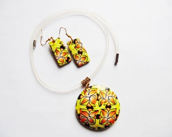 Adornment necklace and earrings unique polymer clay kaleidoscope orange yellow and black