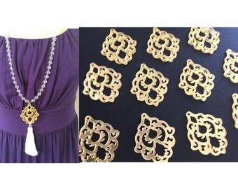 Gold Mirror Mandala Tassel Connector, Focal point for tassel necklaces, gold connector bead, 2 hole laser cut tassel bead long statement