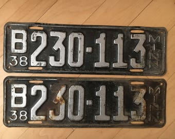 Pair of 1938 Minn License Plates. Minnesota Set.