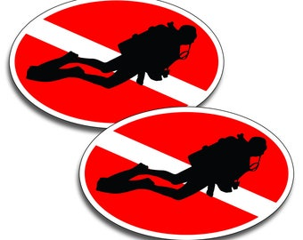 Diver Down Oval Sticker Vinyl Decal for Oxygen Tank, Gear Bag, Back Glass Graphic Diving Car Truck Boat Box