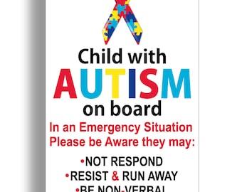 Child With Autism Sticker Car Truck Window Vehicle Emergency Safety Alert First Aid Safe